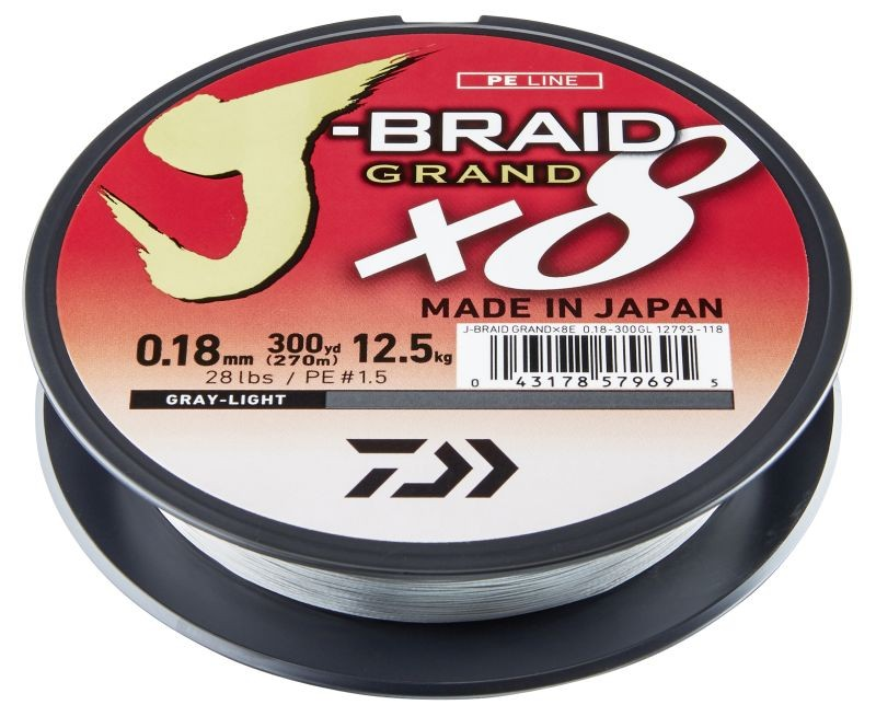 DAIWA J-BRAID GRAND X8 0,10MM-135M VILÁGOS SZÜRKE FONOTT ZSINÓROK