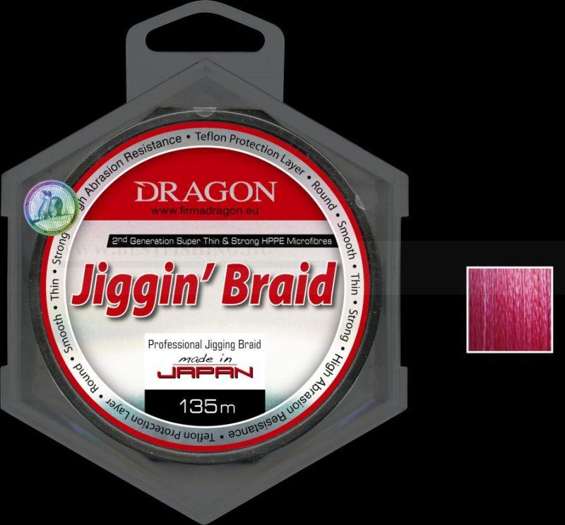 ZSINÓR DRAGON JIGGIN\' BRAID SZÍN: PIROS 135m-0,12mm FONOTT ZSINÓROK