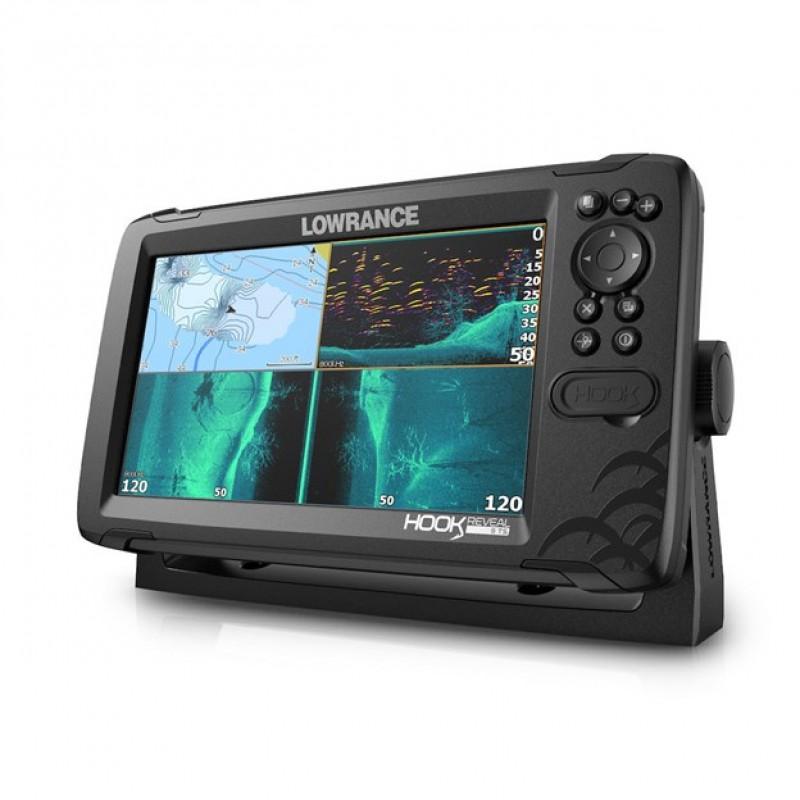 LOWRANCE HOOK REVEAL 9 TRIPLESHOT GPS/HALRADAR PLOTTER 200, 455/800 KHZ-ES, LEFELÉ ÉS OLDALRA PÁSZTÁ